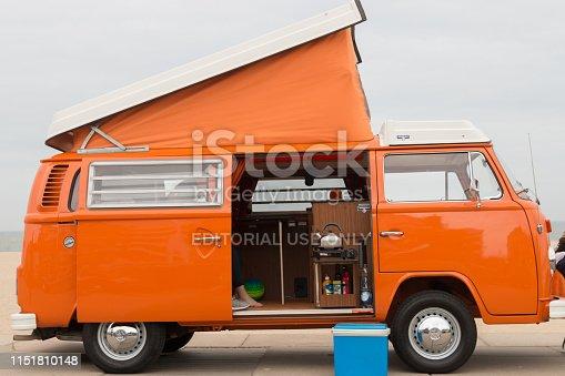 Scheveningen, The Hague, the Netherlands - 1960s style VW Transporter Kombi parked at Scheveningen beach