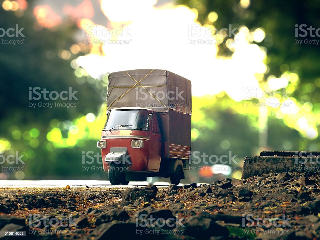 transport-truck-auto-rickshaw-overload-concept stock photo