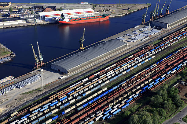 Transshipment port in Szczecin stock photo