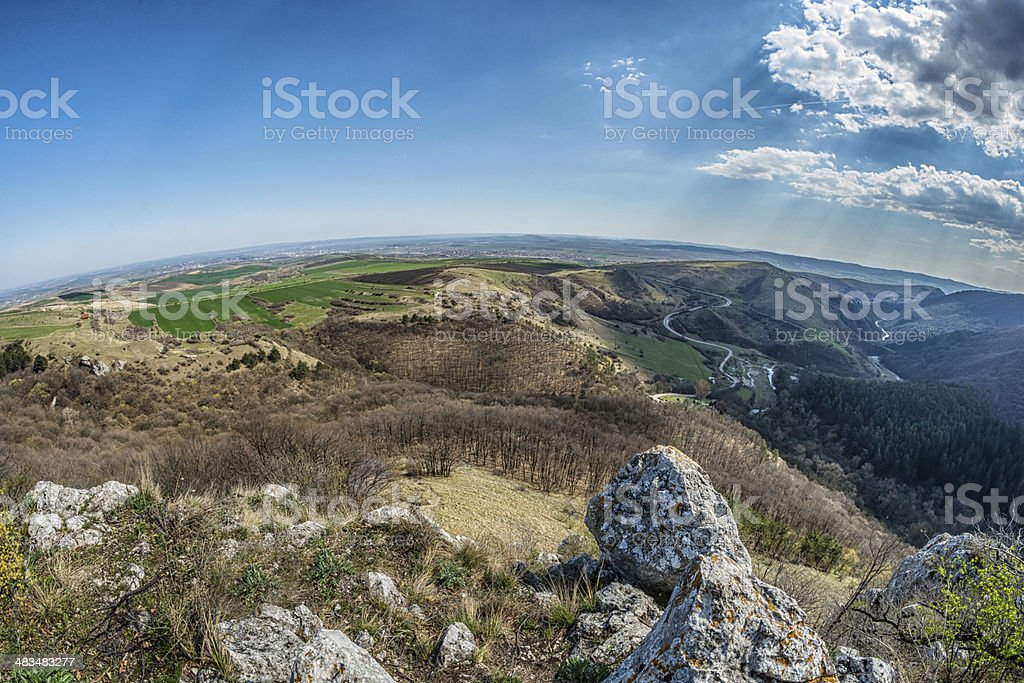 Transylvania Landscape curved horizon stock photo