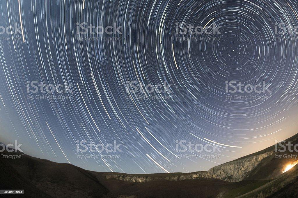 Transylvania landscape Turzii Gorge star trails stock photo