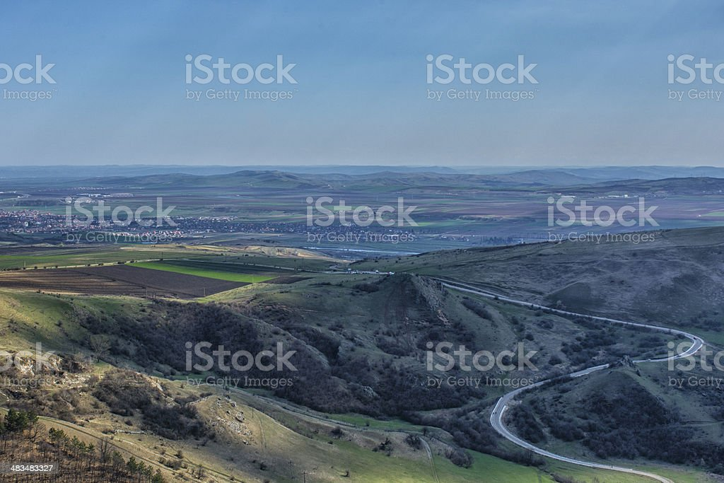 Transylvania Romania landscape early spring curved road stock photo