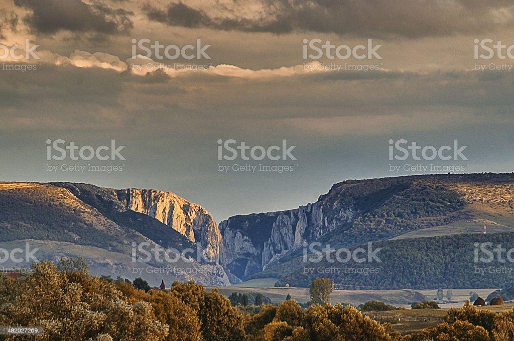 Transylvania, Romania Turzii Gorge from a distance in autumn stock photo