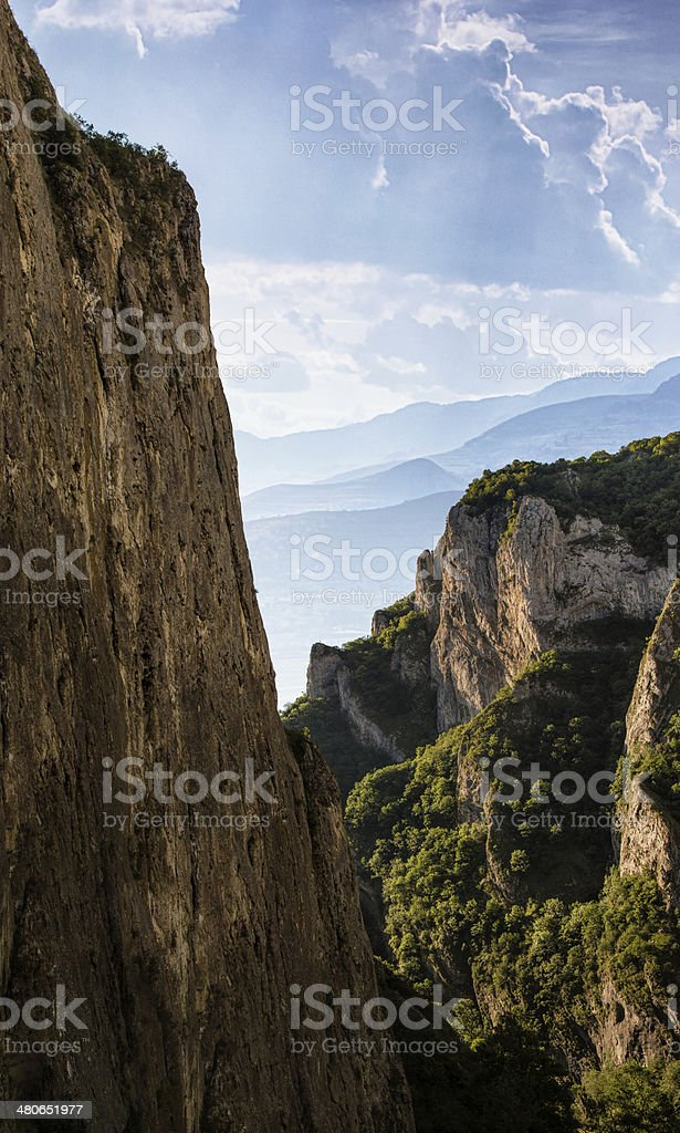 Transylvania Turzii Gorge from high up on a climbing route stock photo