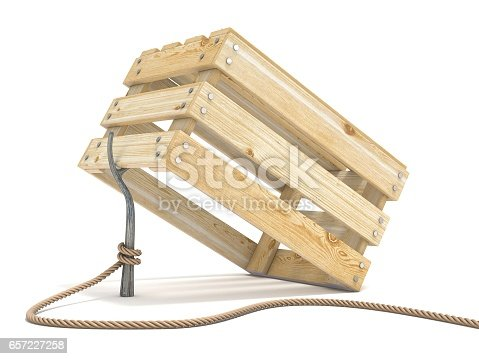 istock Trap made of wooden crate and rope tide to stick 3D 657227258