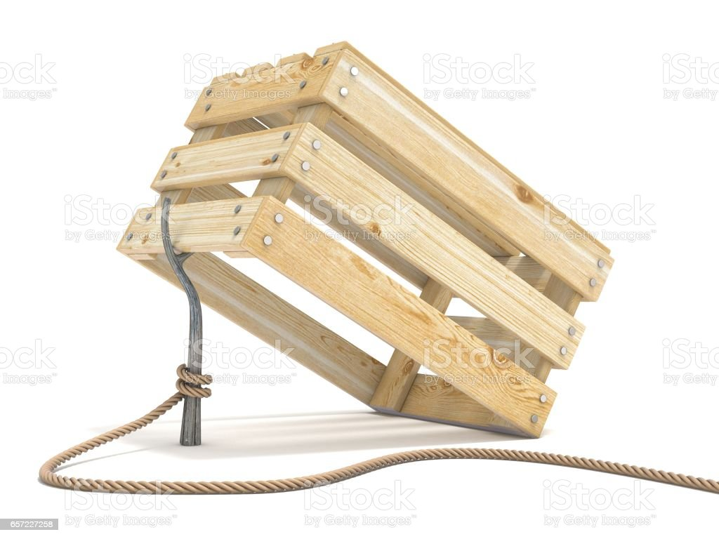Trap made of wooden crate and rope tide to stick 3D stock photo