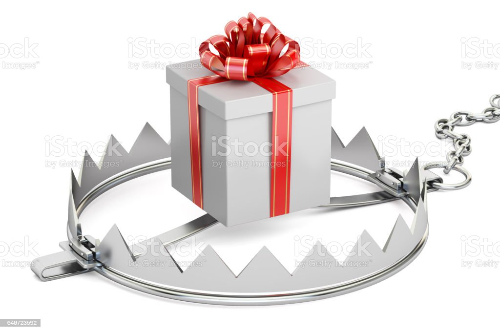 trap with gift box, 3D rendering stock photo