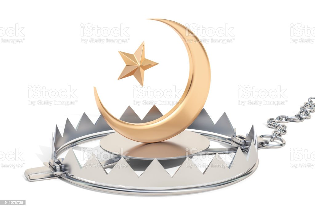 Trap With Star And Crescent Islam Religion Trap Concept 3d Rendering