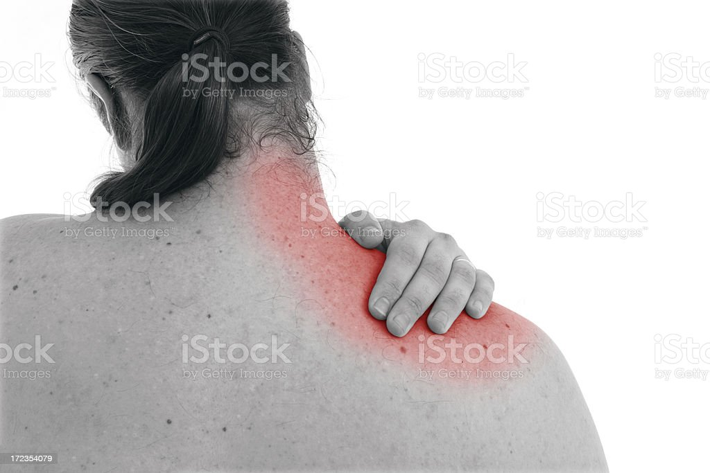 Trapezius Pain (request) royalty-free stock photo