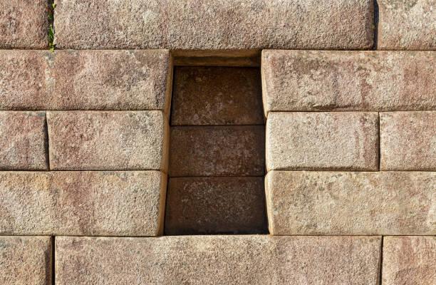 Trapezoid Cavity and Inca Wall, Machu Picchu, Peru stock photo