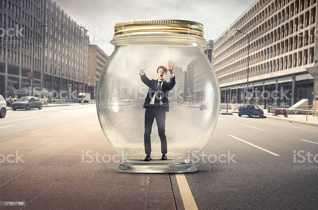 Trapped businessman stock photo