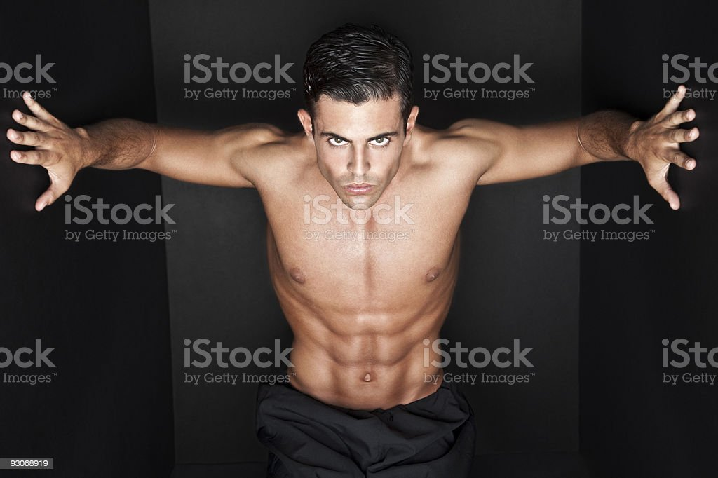 Trapped handsome man stock photo