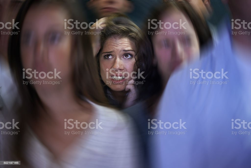 Trapped in her own mind stock photo