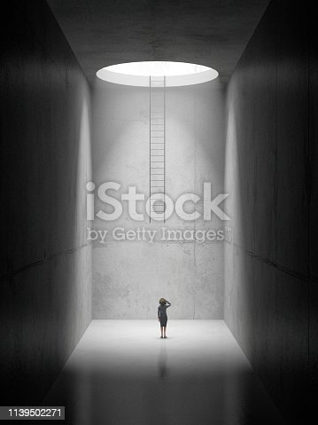 A woman standing at the bottom of an empty concrete space, unable to get out. 3D render
