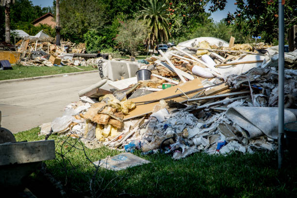 Trash and debris outside of Houston homes stock photo
