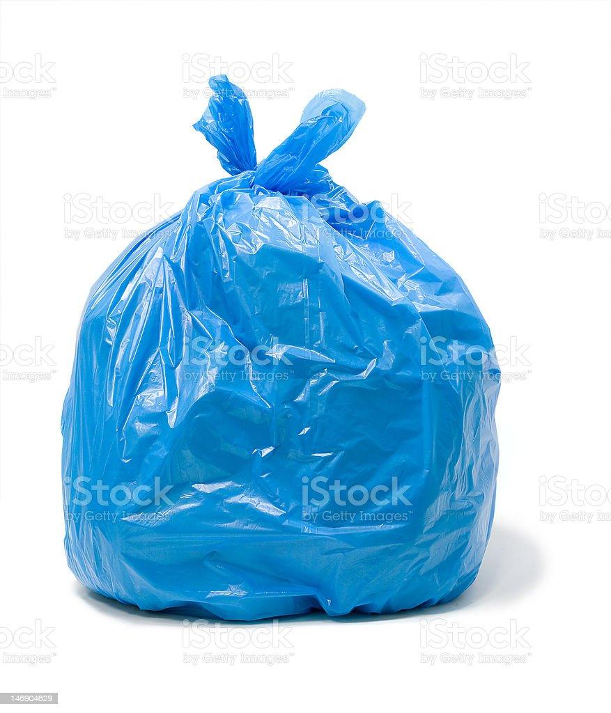 Trash bag Blue trash bag Bag Stock Photo