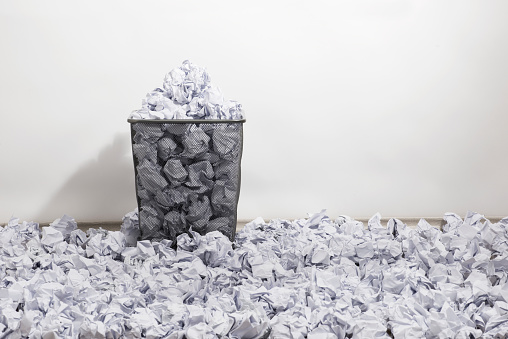 Trash Basket And Papers Stock Photo - Download Image Now