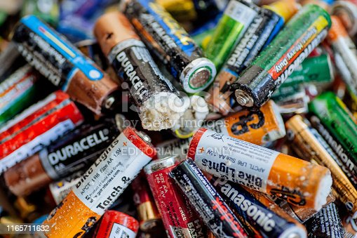 Delhi, India: Trash batteries with oxidation, rechargeable accumulators and old alkaline batteries for recycling on 26 July, 2019. India generates 26,000 tons of plastic waste every day