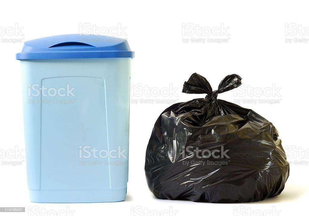 Trash Bin and Bag royalty-free stock photo