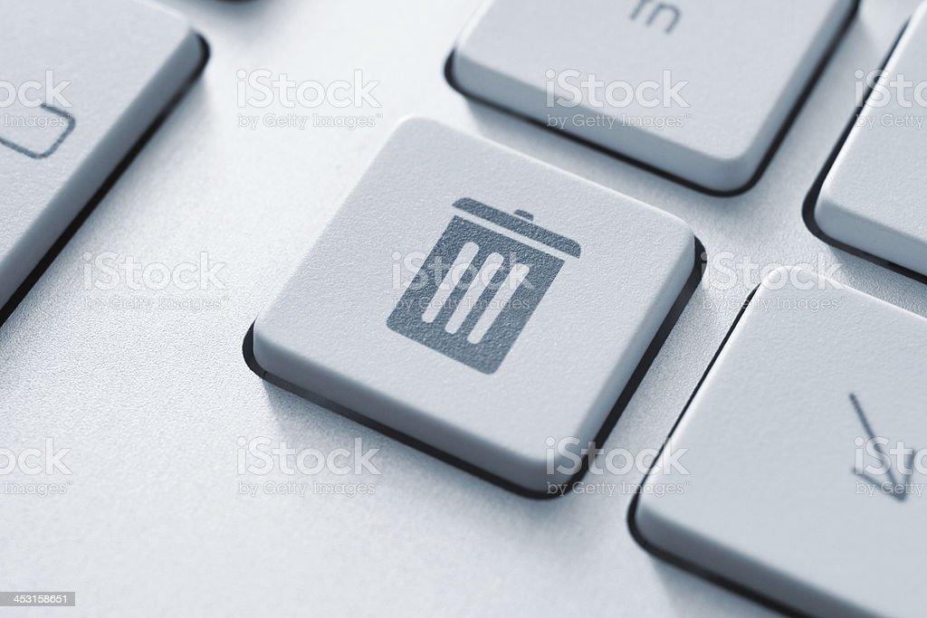 Trash bin button stock photo