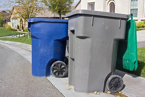Trash Bins Ready for Pickup stock photo
