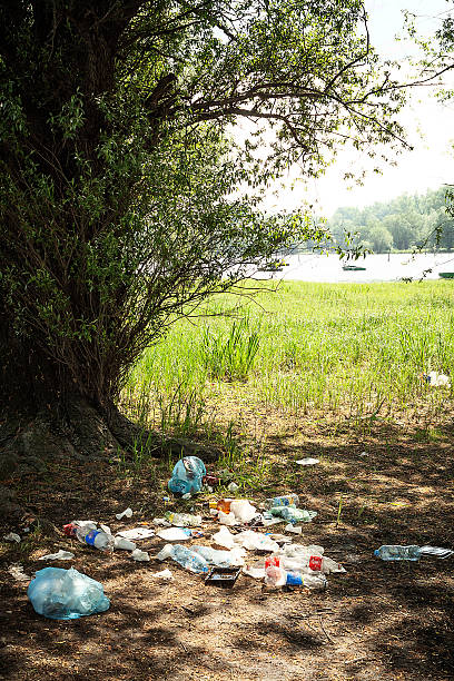 Trash by the river Danube stock photo