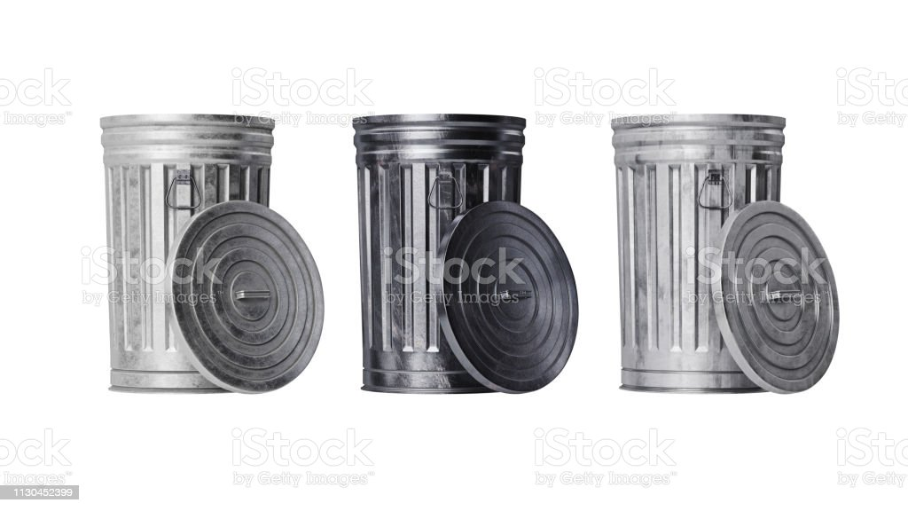 Trash can bin metal, front view royalty-free stock photo