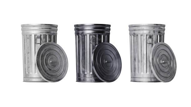 Trash can bin metal, front view stock photo