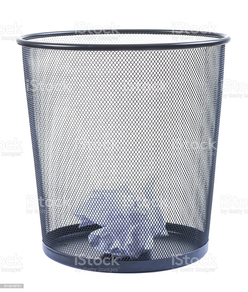 Trash can filled with crumbled paper isolated on white background stock photo