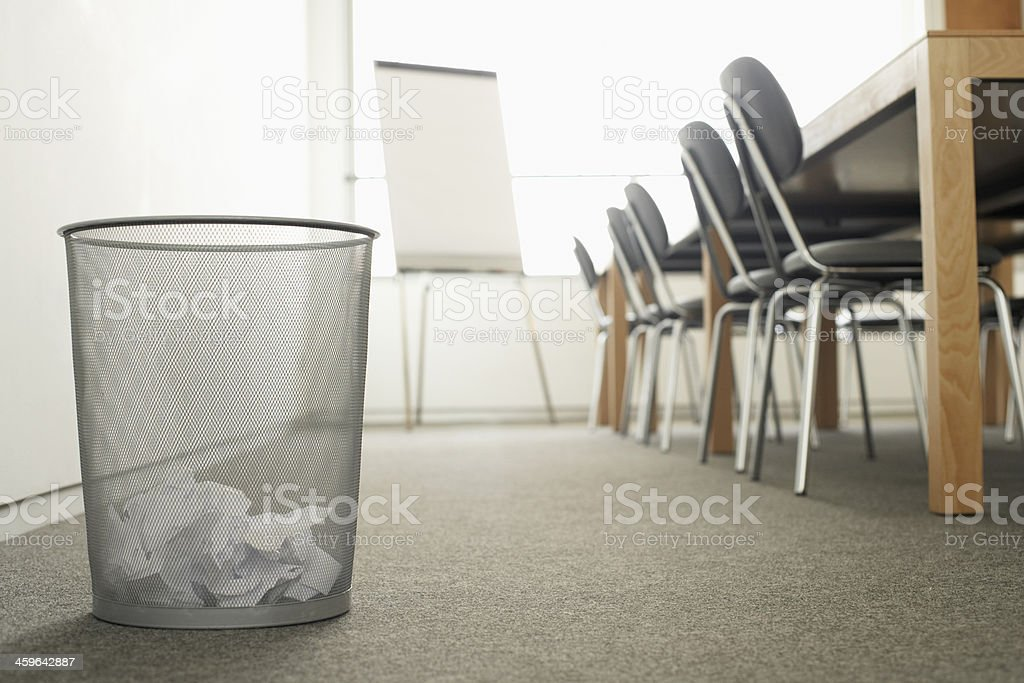 Trash Can in Meeting Room stock photo
