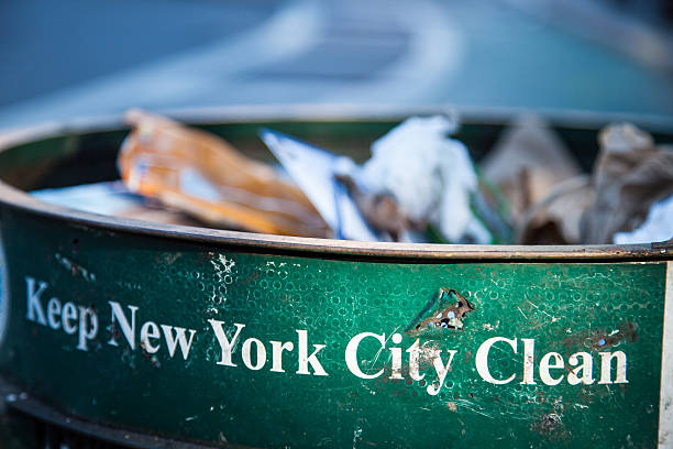 Trash can in New York City stock photo