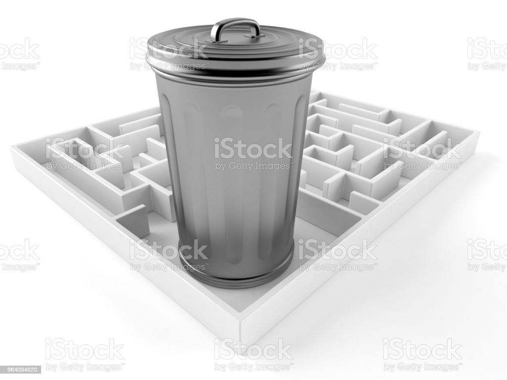 Trash can inside maze - Royalty-free Can Stock Photo