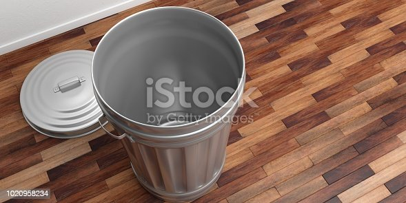 istock Trash can on a wooden floor 3d illustration 1020958234
