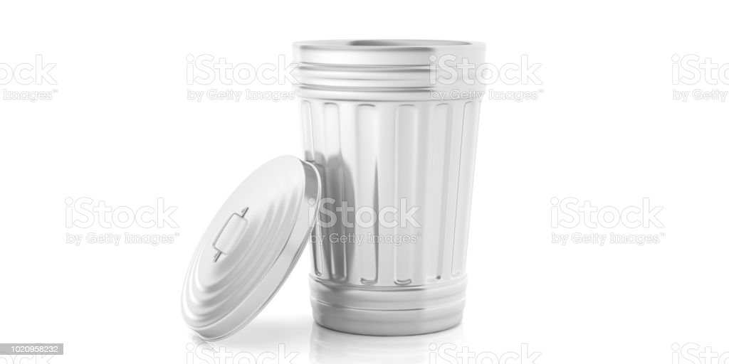 Trash can on white background. 3d illustration royalty-free stock photo