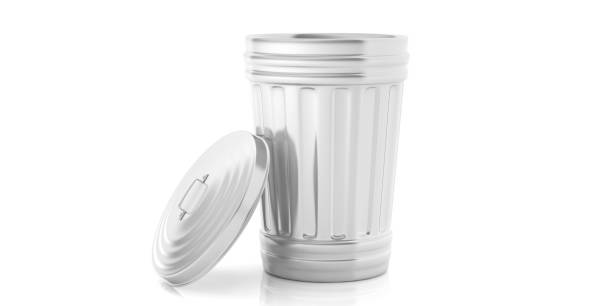 Trash can on white background. 3d illustration stock photo