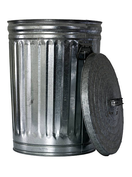 trash can, opened, top at side stock photo