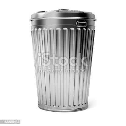 Three dimensional generated image of the metal trash can. Isolated on white