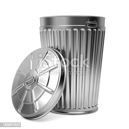 Three dimensional model of trash can. Isolated on white