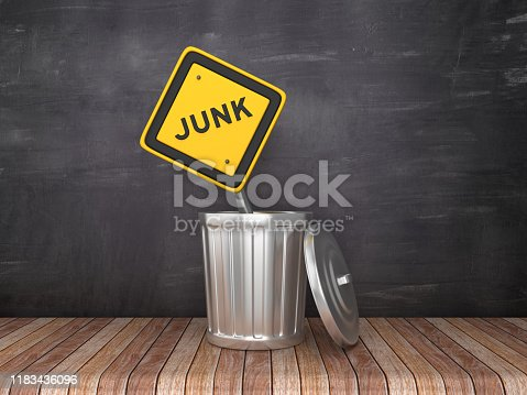 Trash Can with JUNK Road Sign on Chalkboard Background - 3D Rendering