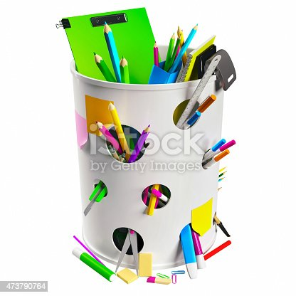 462138083 istock photo Trash can with pencils 473790764