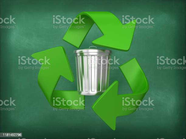 Trash can with recycling symbol on chalkboard background 3d rendering picture id1181452796?b=1&k=6&m=1181452796&s=612x612&h=4oyhuqmele92sd4 3fxv7a0obhwbthuqh77e9v0k74q=