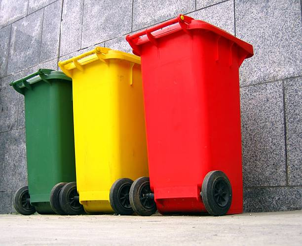 Trash Cans for Garbage Separation stock photo