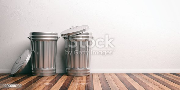 istock Trash cans on a wooden floor 3d illustration 1020958222