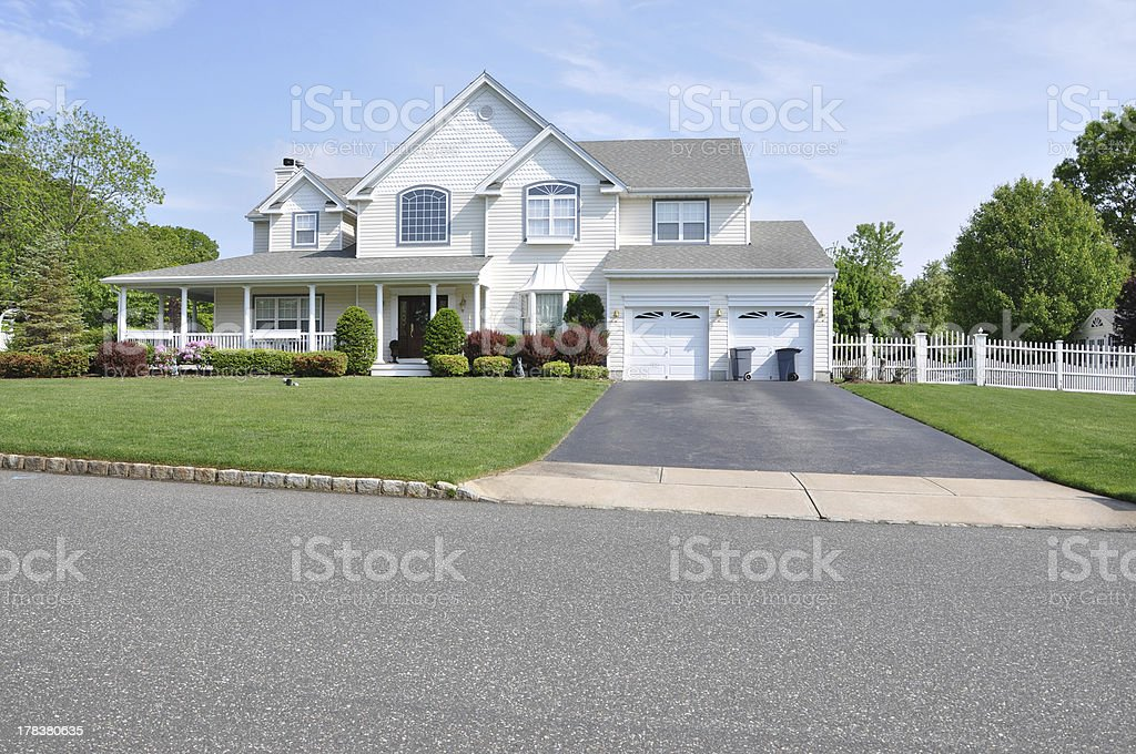 Trash Cans Suburban Home Driveway stock photo
