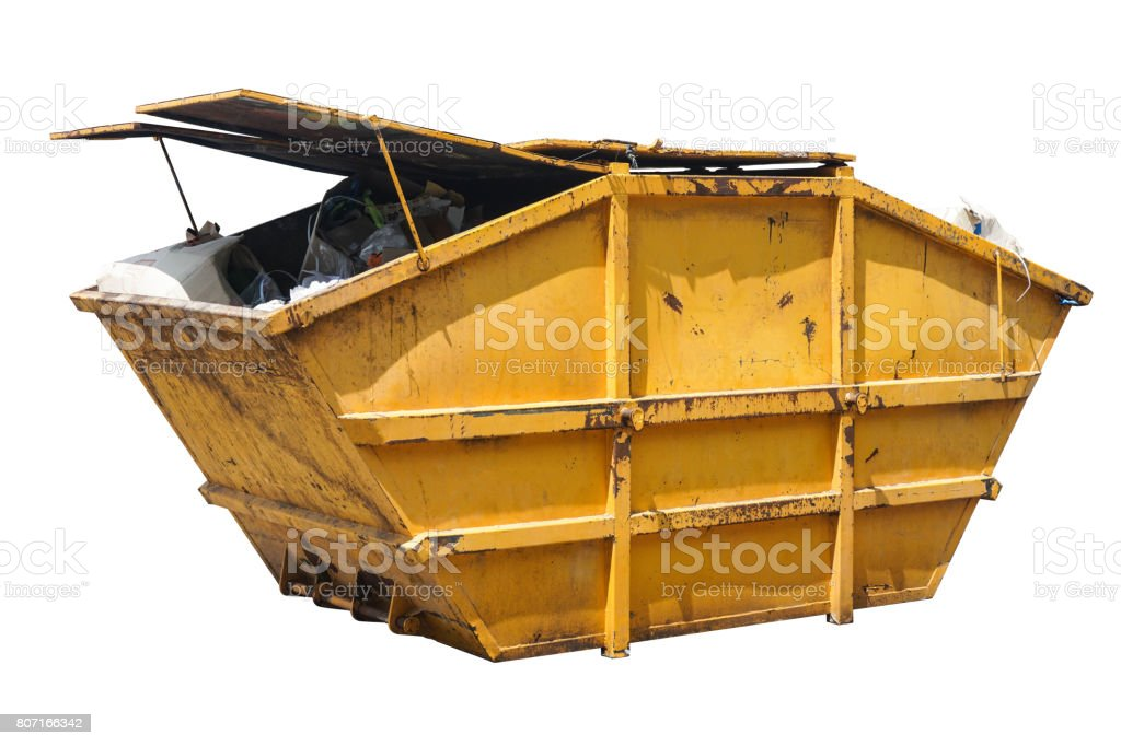 Trash container with heavy scratches isolated stock photo