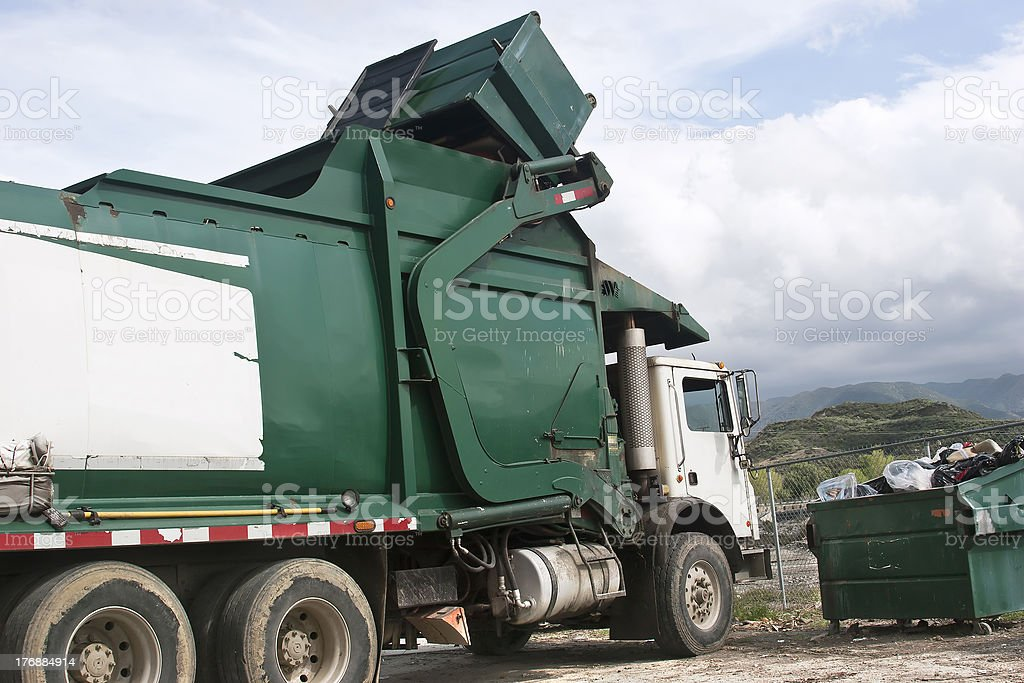 Trash Dumpster Pickup stock photo