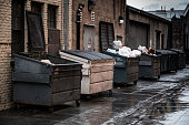 Alley way lined with opened and closed industrial sized trash dumpsters.
