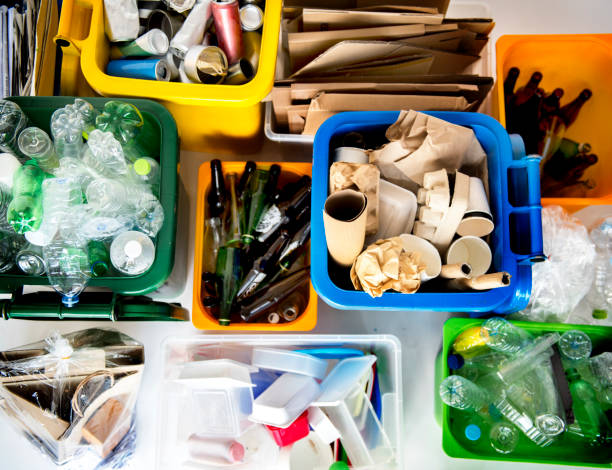 trash for recycle and reduce ecology environment - riciclaggio foto e immagini stock
