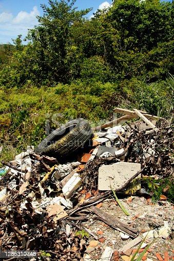 porto seguro, bahia / brazil - february 16, 2009: garbage dumped in a native forest area in the city of Porto Seguro, in the south of Bahia.