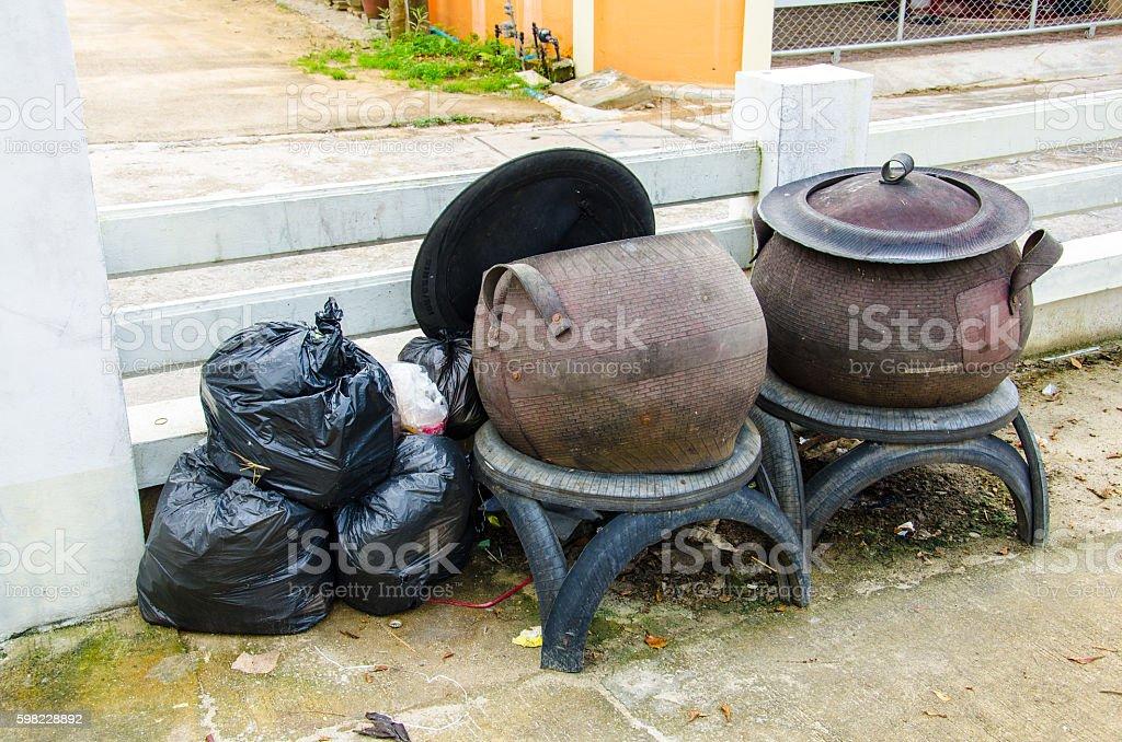 Trash Rubber Bin and Plastic Bag foto royalty-free